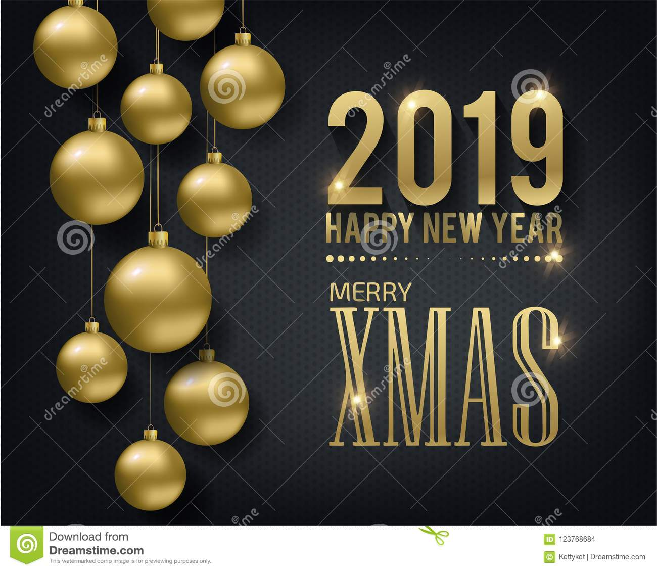 Greeting Card, Invitation With Happy New Year 2019 And ...