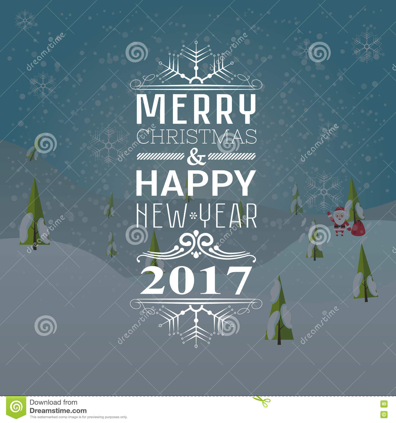 Greeting Card Or Invitation Merry Christmas And Happy New Year 2017