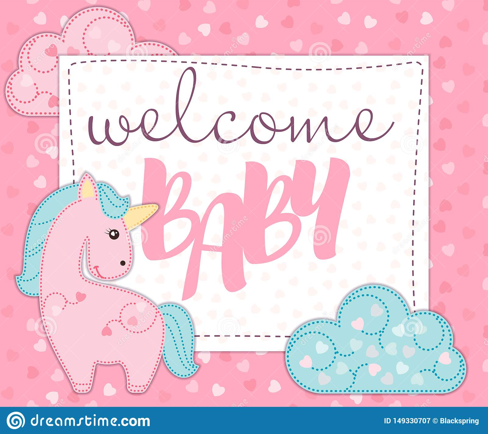 greeting card or invitation for newborn baby girl