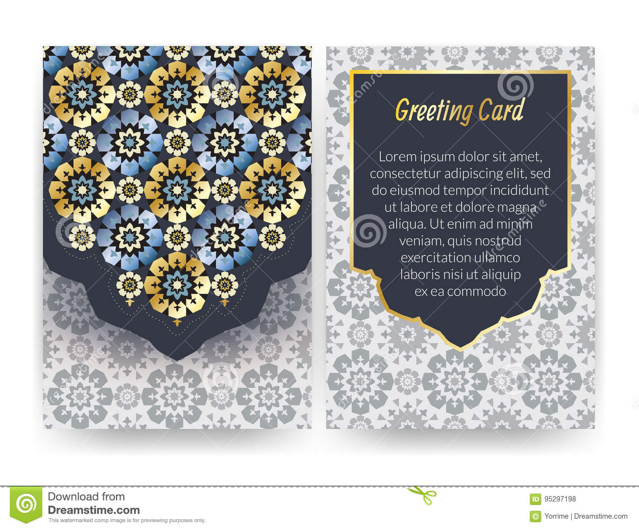 Greeting card with islamic pattern.