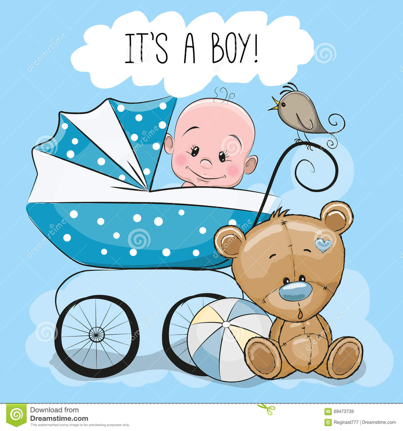 greeting card its a boy stock vector illustration of