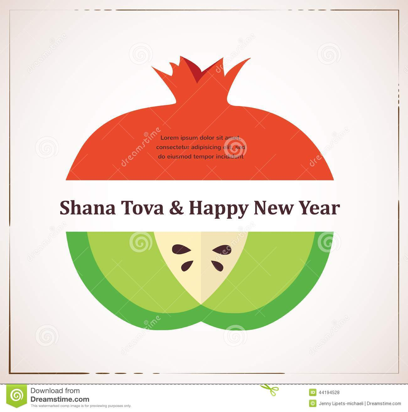 Greeting card for jewish new year rosh hashana with traditional greeting card for jewish new year rosh hashana with traditional fruits kristyandbryce Choice Image