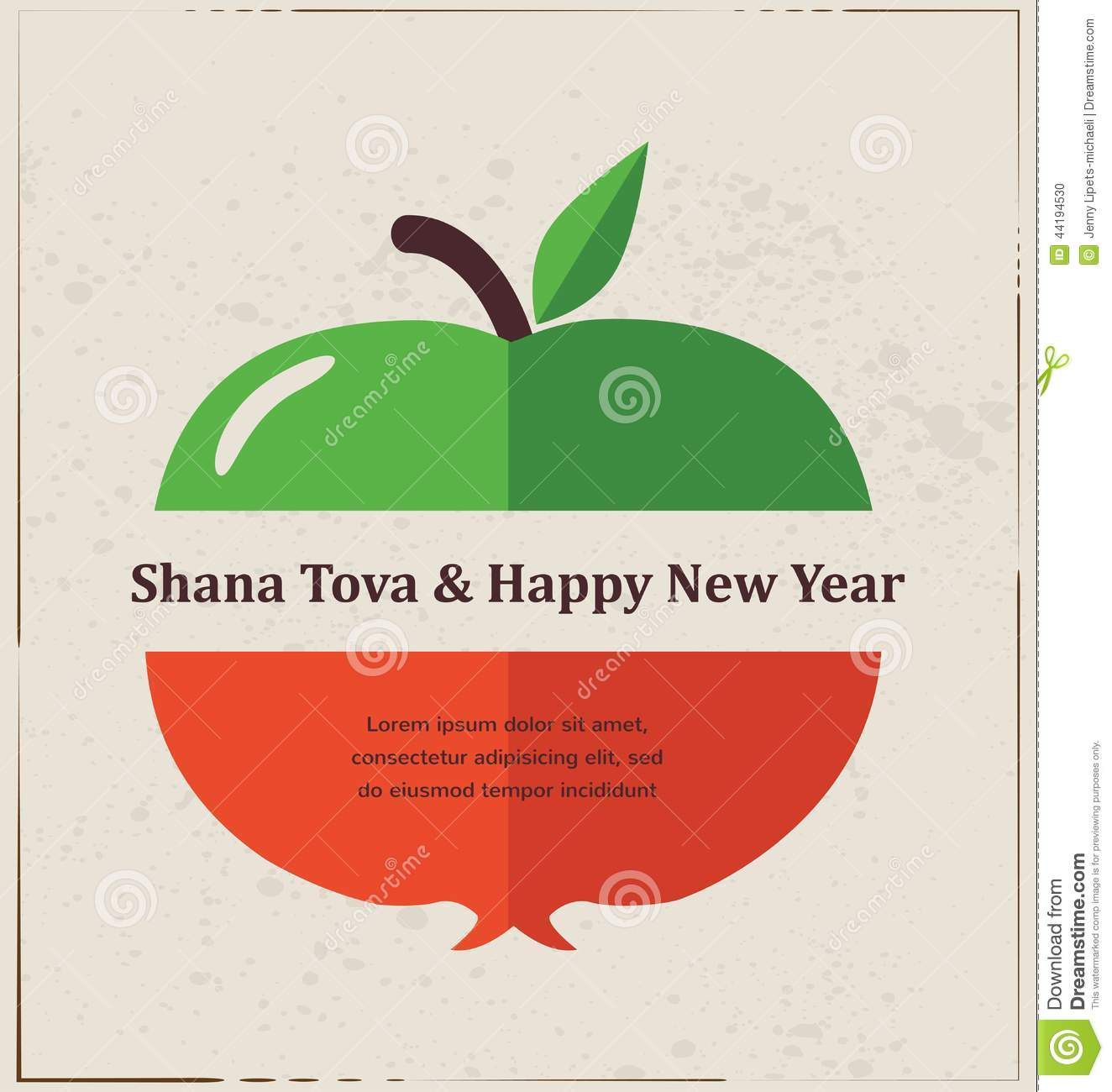 Greeting Card For Jewish New Year Rosh Hashana With Traditional