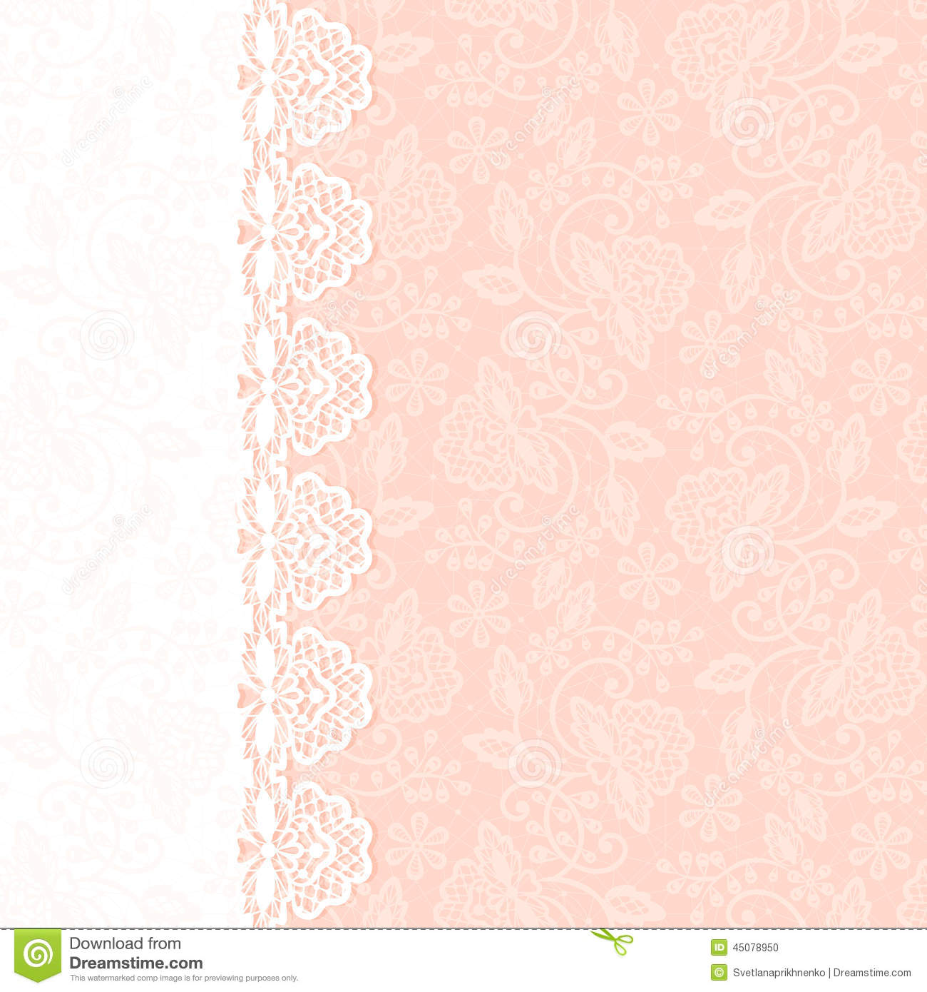 greeting card with lace border stock vector  illustration