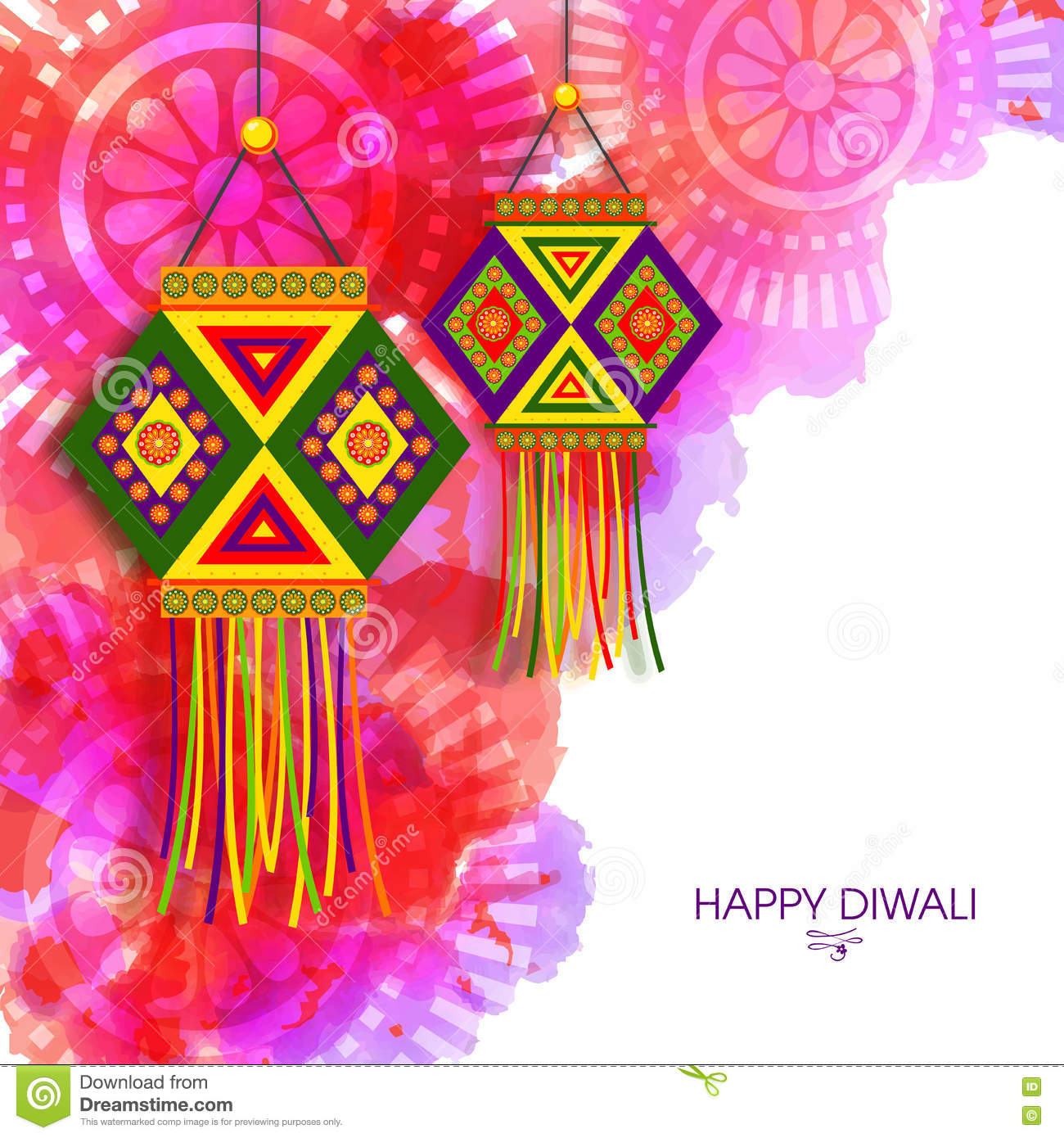 Greeting Card With Lamps (Kandil) For Diwali. Stock Photo