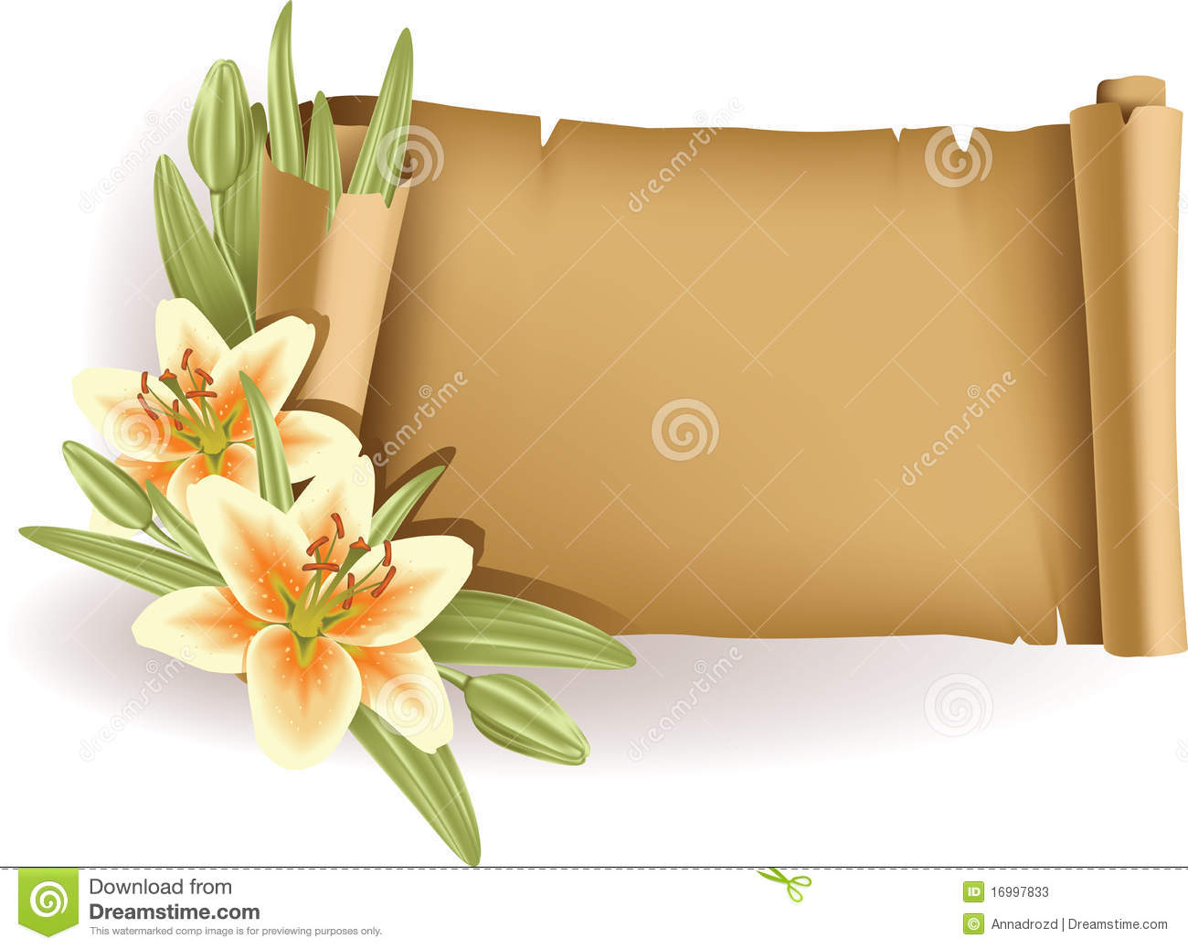 Greeting Card With Lilies And Scroll - Horizontal Stock ...