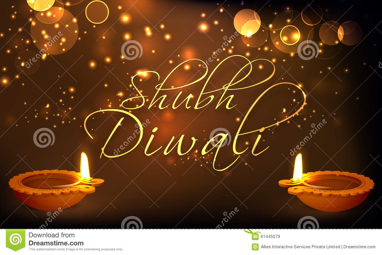 Greeting card with lit lamps for Happy Diwali.