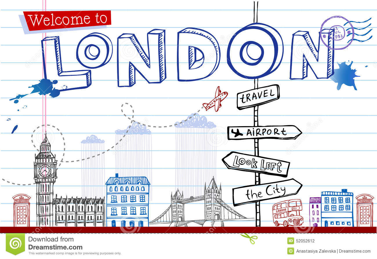 Greeting Card From London In Style Doodles Stock Vector