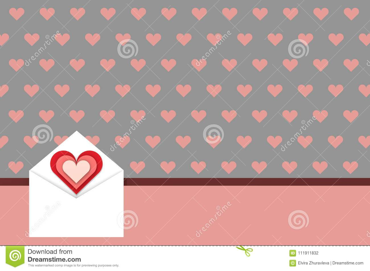 Greeting Card Love Messages Concept 3d Illustration Stock