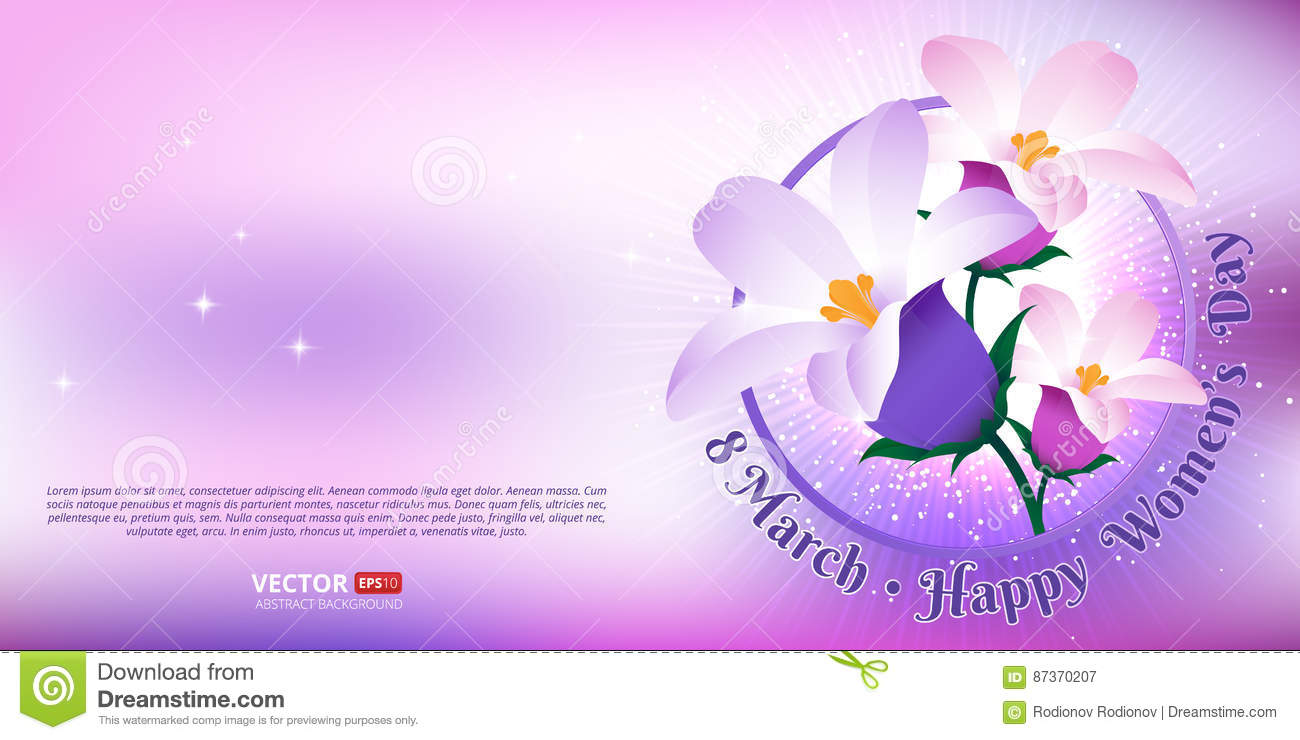 Greeting card with 8 March. Happy international women`s day.