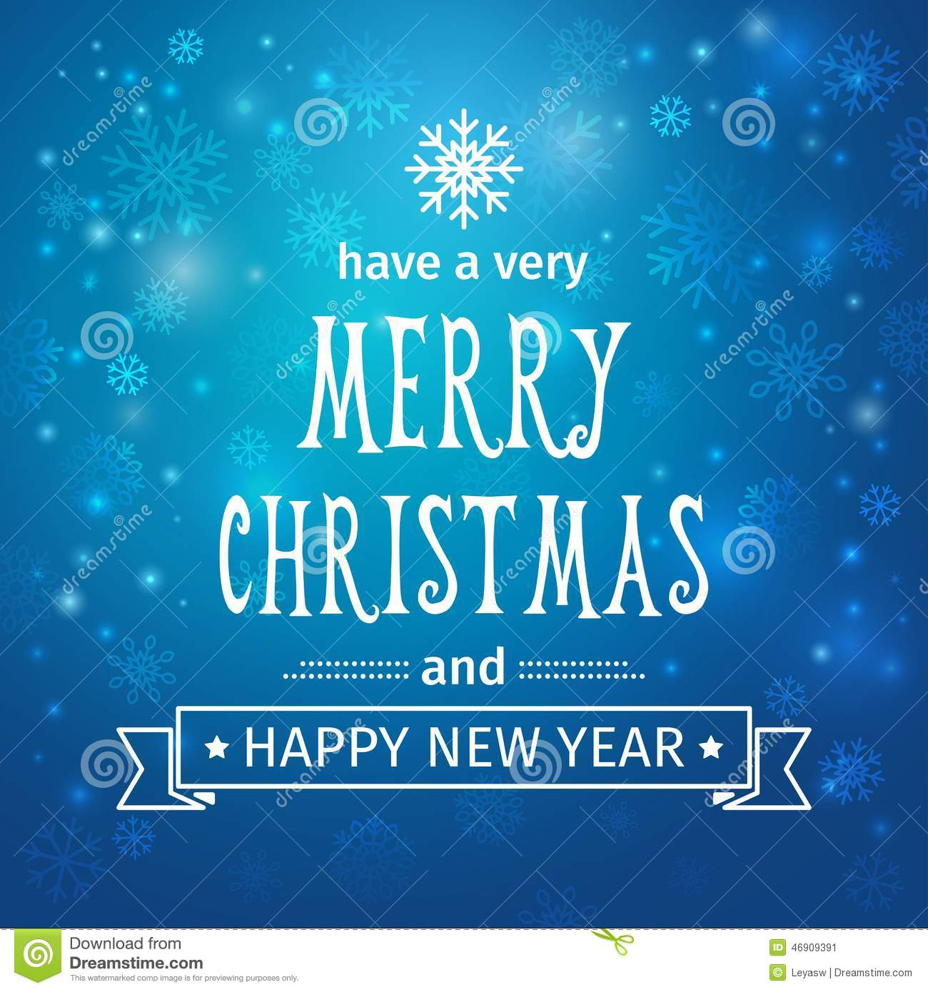greeting card merry christmas and happy new year background with snowflakes