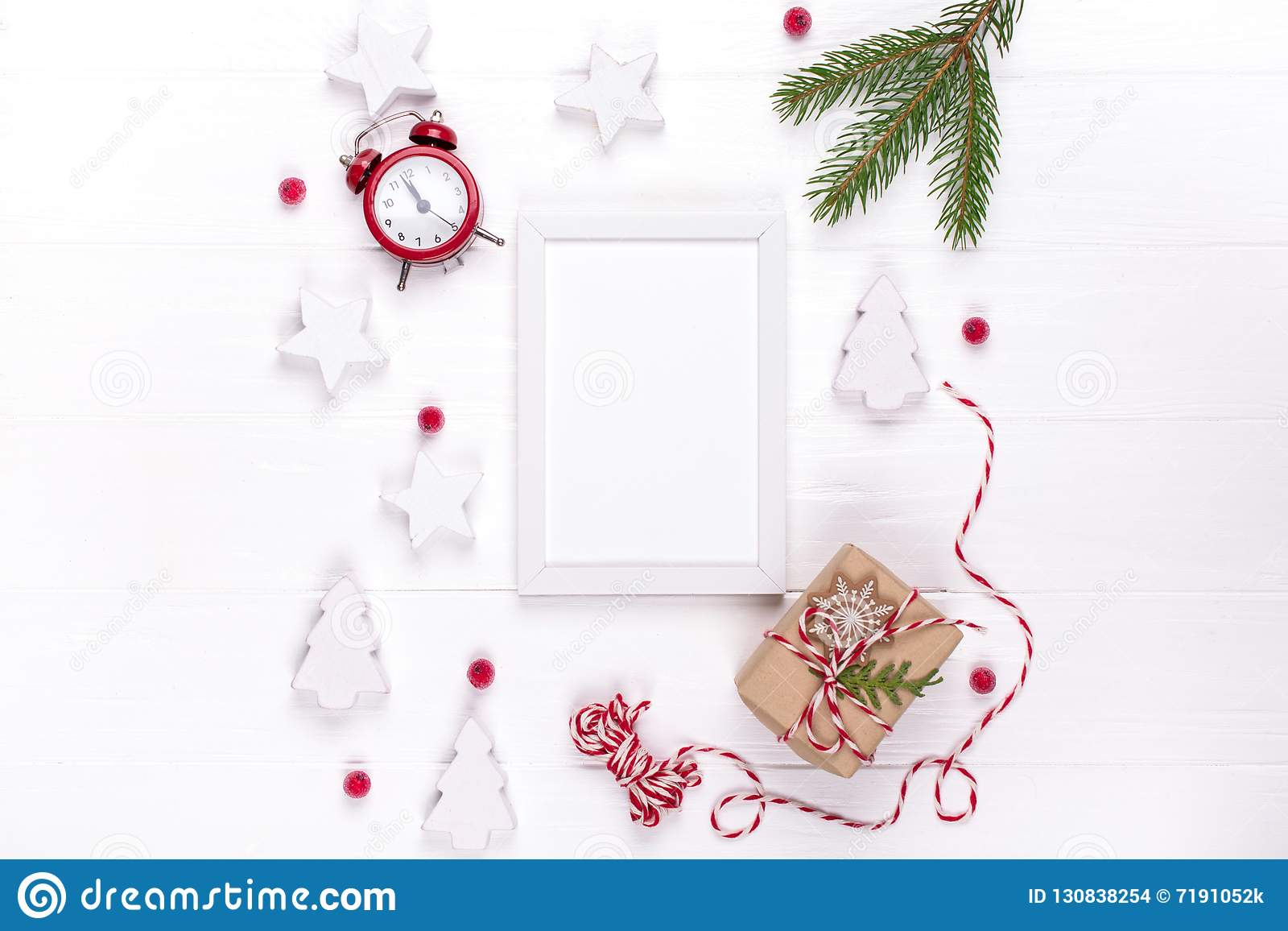 Greeting Card Mock Up Template With Christmas Decorations