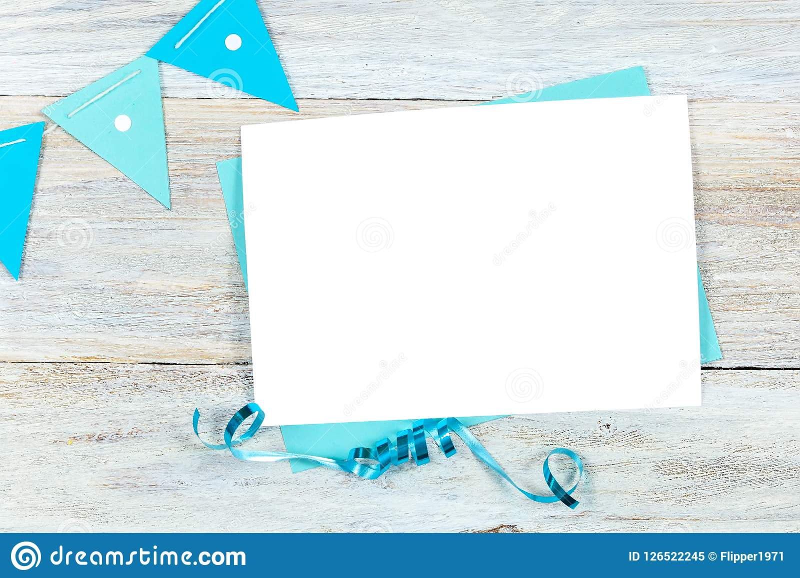 Greeting Card Mockup, Birthday Or Party Invitation Blank