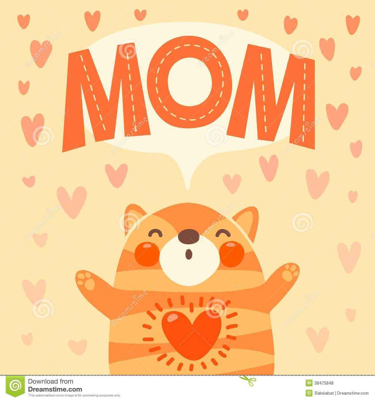 Greeting Card For Mom With Cute Kitten Royalty Free Stock