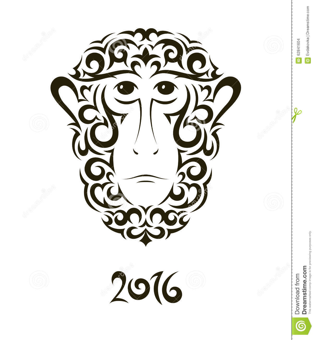 Greeting Card With Monkey Symbol Of The New Year Stock Vector