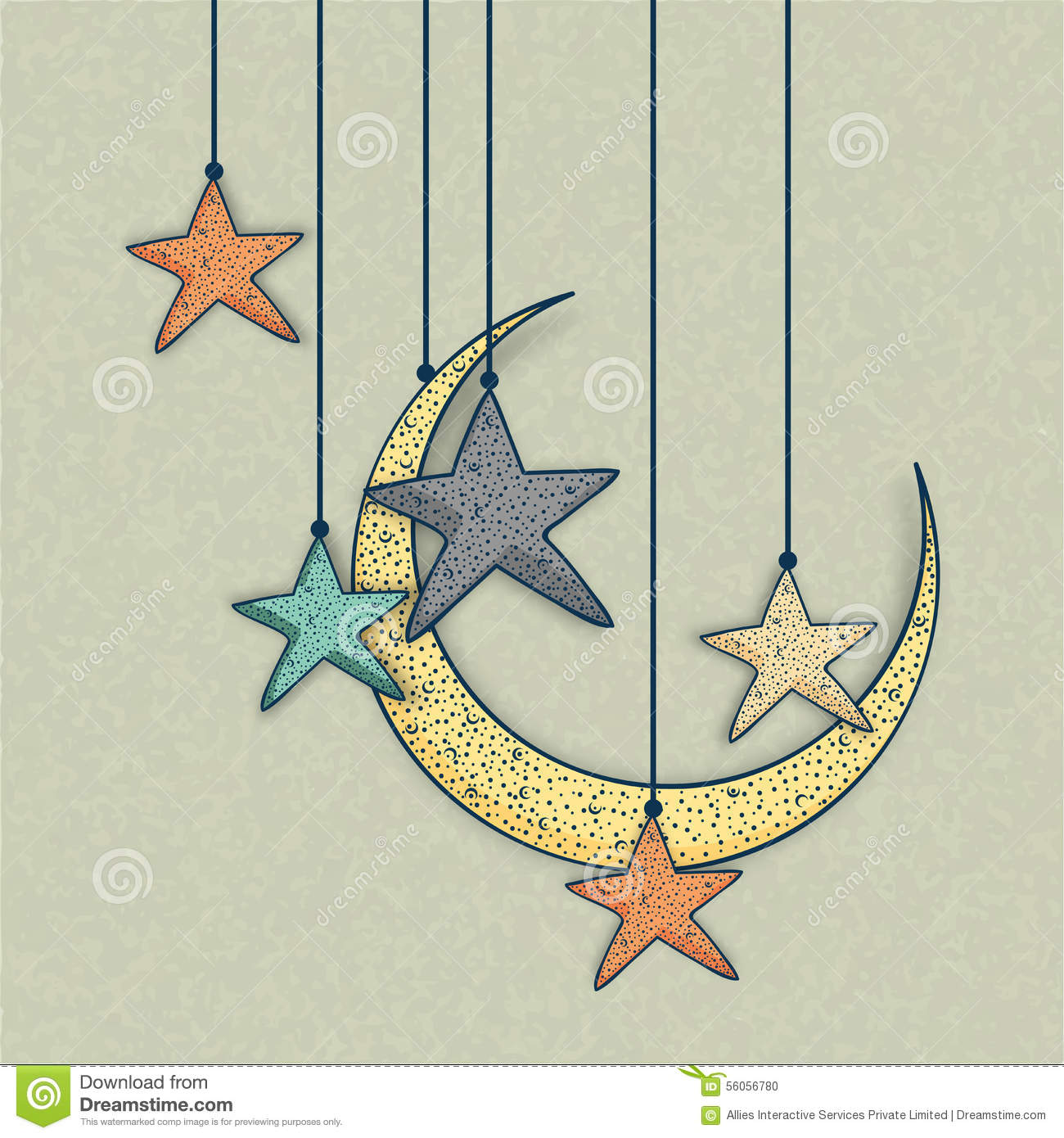 Greeting card with moon and star for eid celebration stock greeting card with moon and star for eid celebration kristyandbryce Images