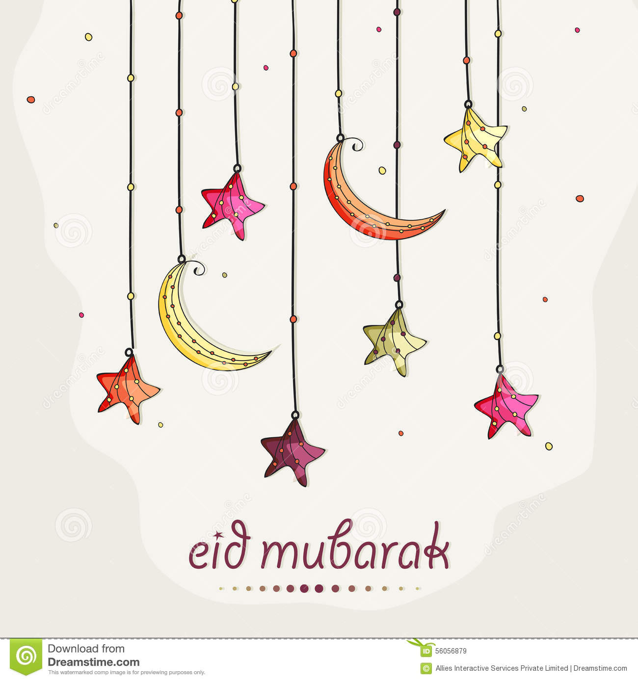 Greeting Card With Moon And Star For Eid Celebration