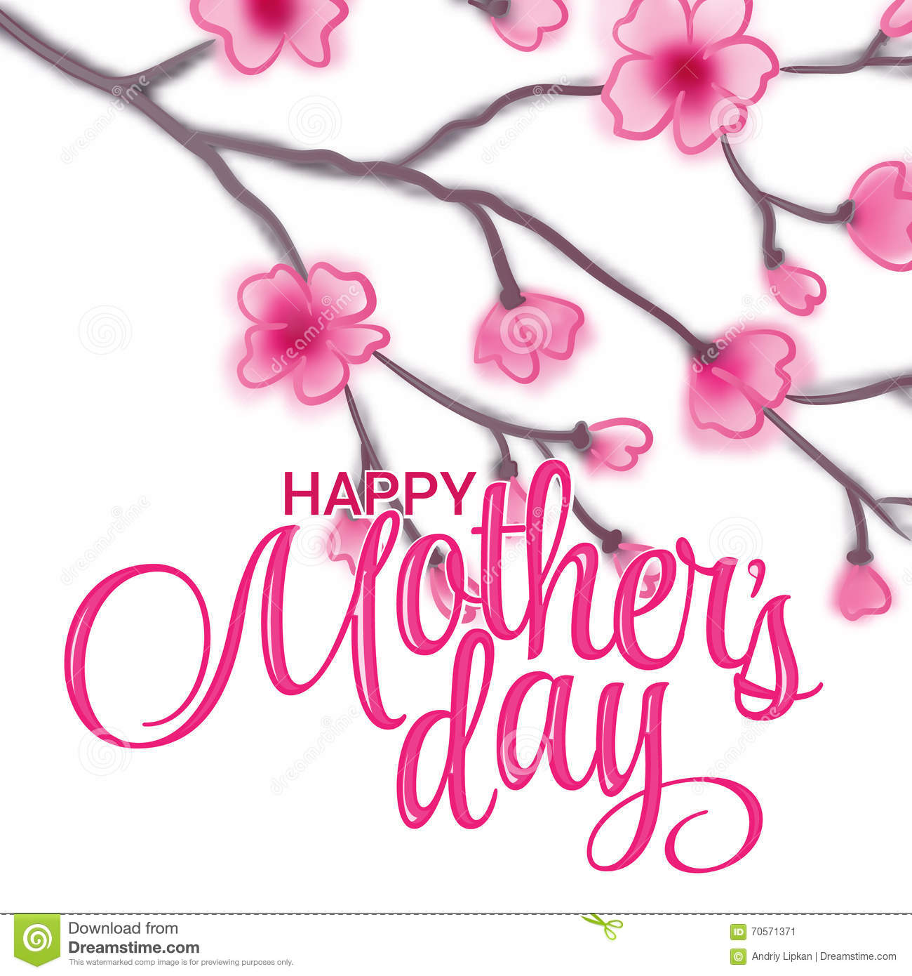 Greeting Card On Mother S Day Sakura Flowers Happy Mothers Background Lettering