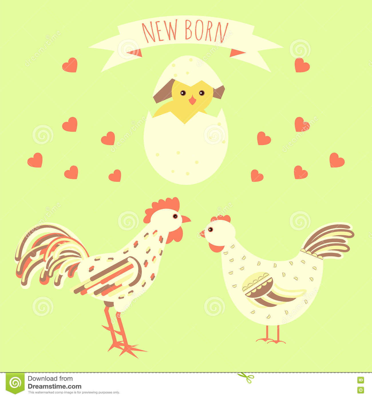 Greeting Card With New Born Chicken Stock Vector Illustration Of