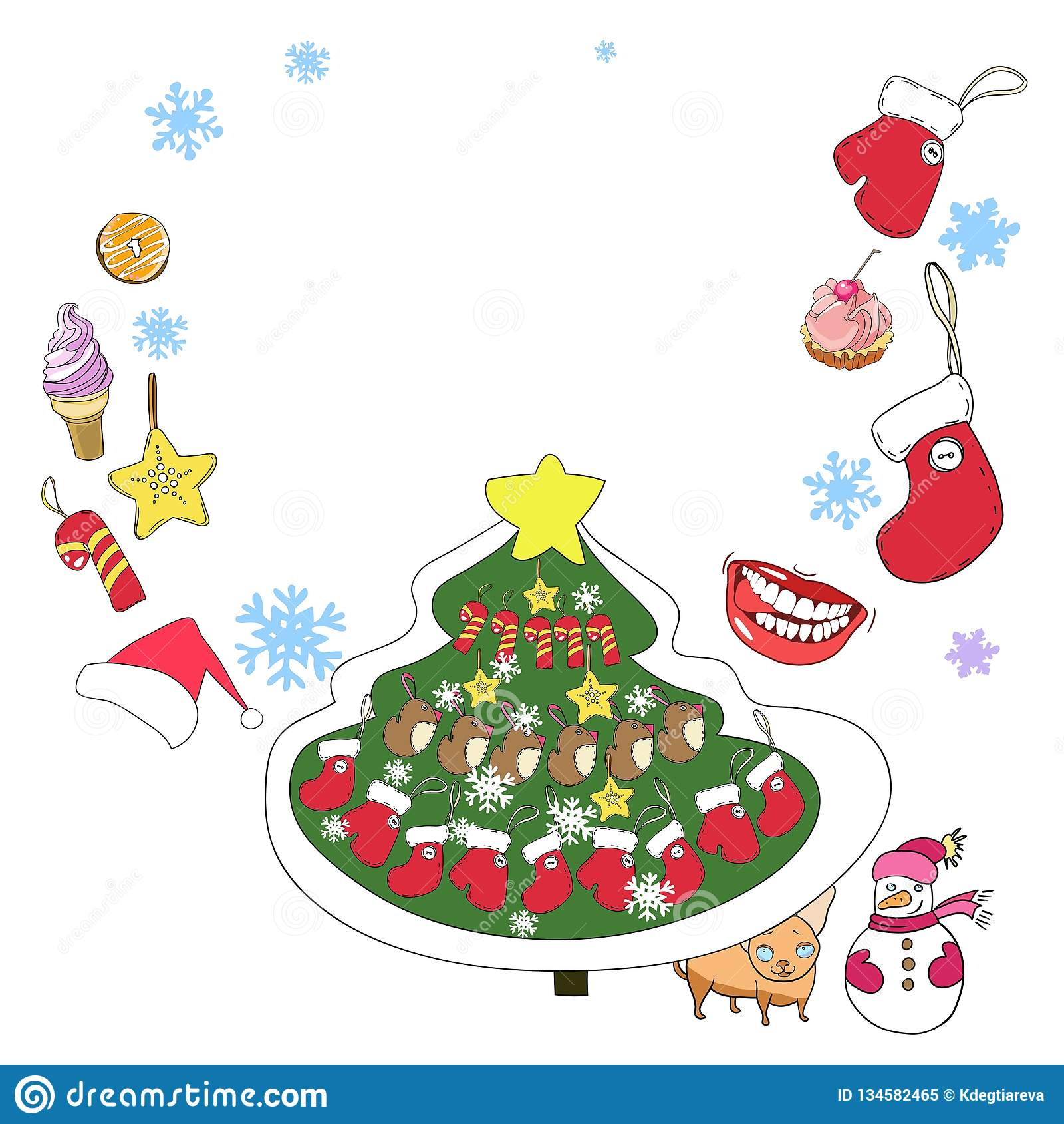 Greeting Card, New Year And Christmas Stock Illustration ...
