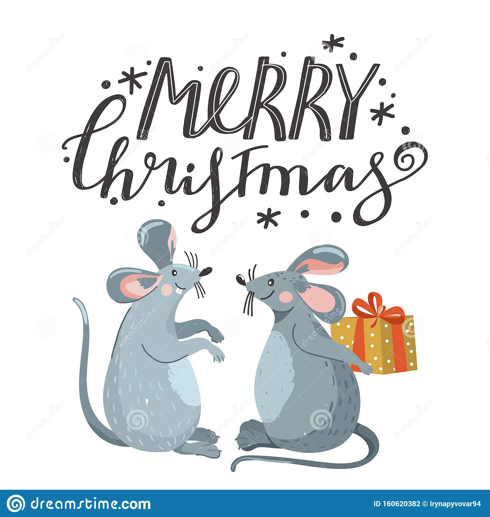 Greeting Card For New Year With Cute Mouse And Lettering ...