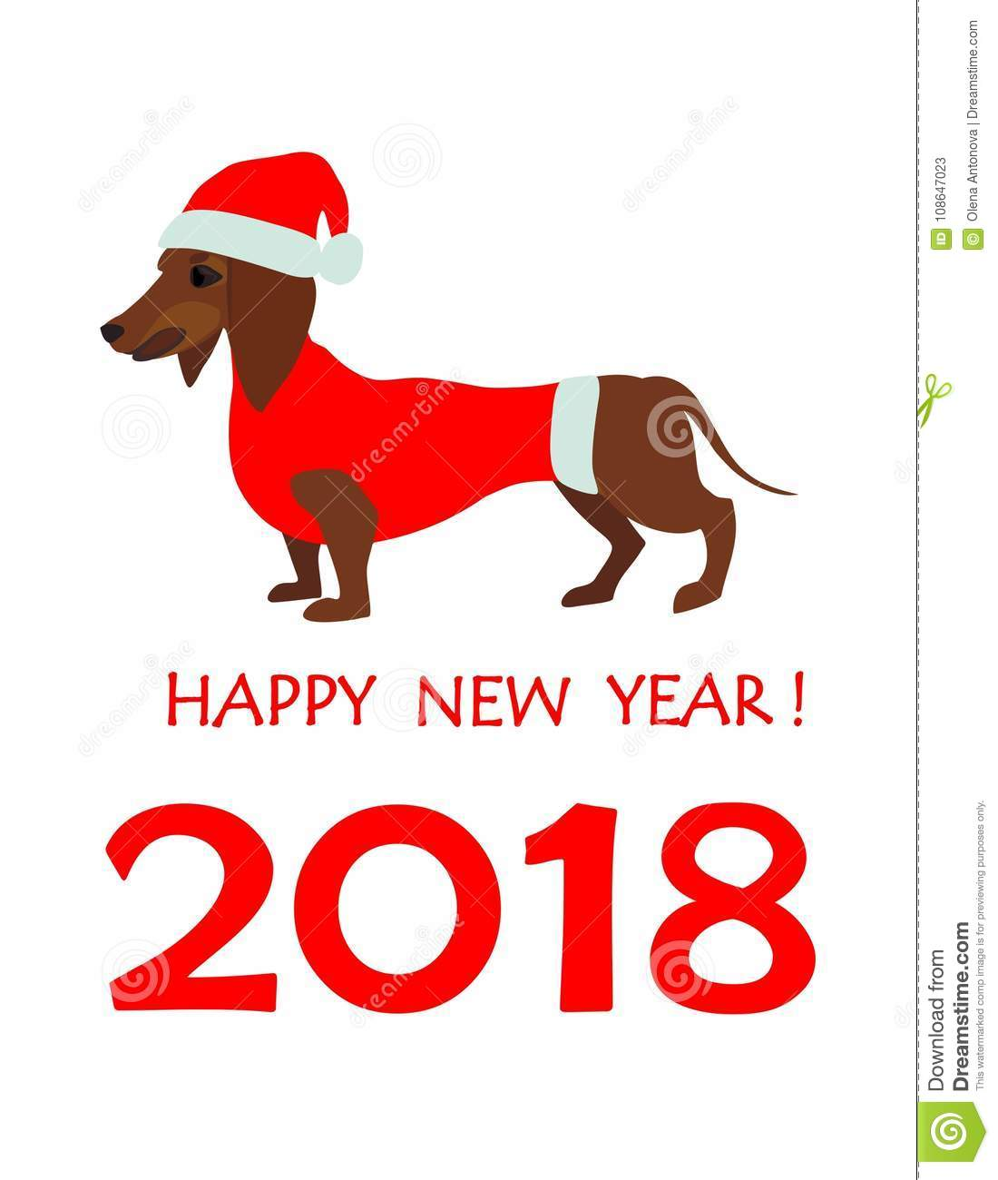 Greeting Card For 2018 New Year With Dachshund In Santa Hat Stock