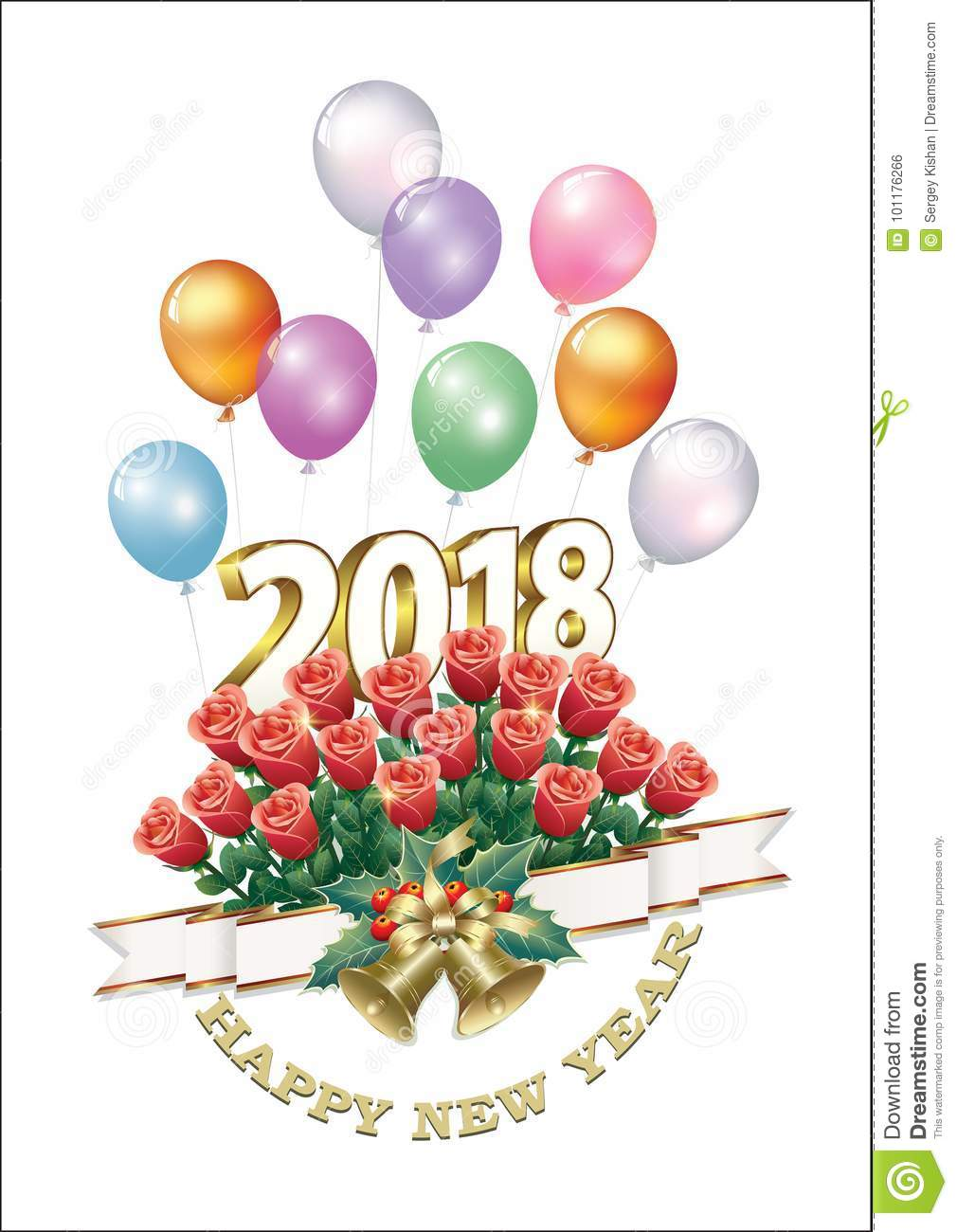 Happy Birthday In The New Year 2018 Stock Vector - Illustration of ...