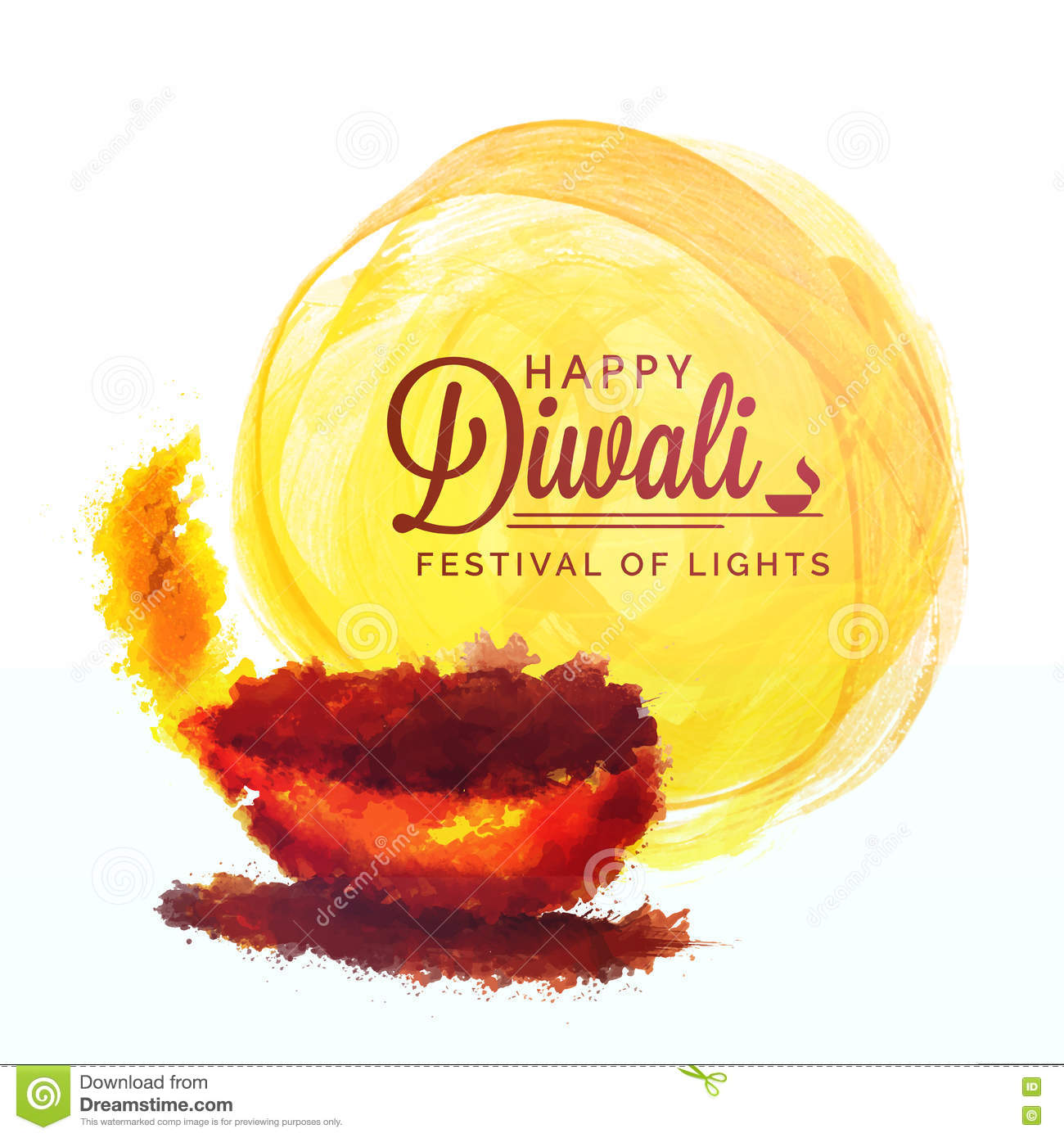 Greeting Card With Oil Lamp For Happy Diwali Stock Illustration