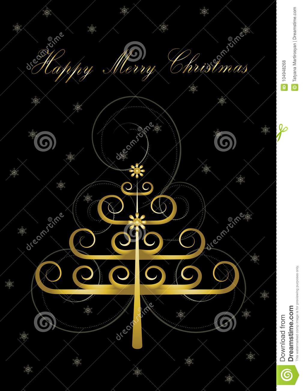 Greeting Card With Original Golden Christmas Tree And Greetings