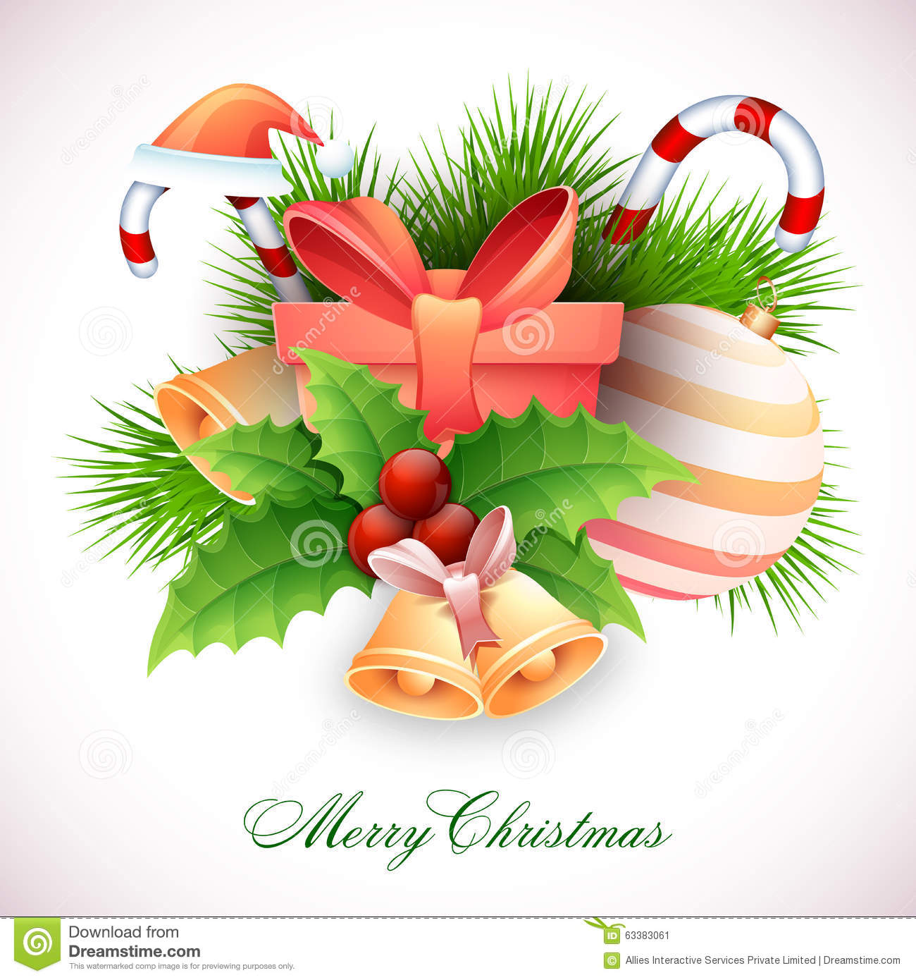 Greeting Card With Ornaments For Merry Christmas Stock Illustration