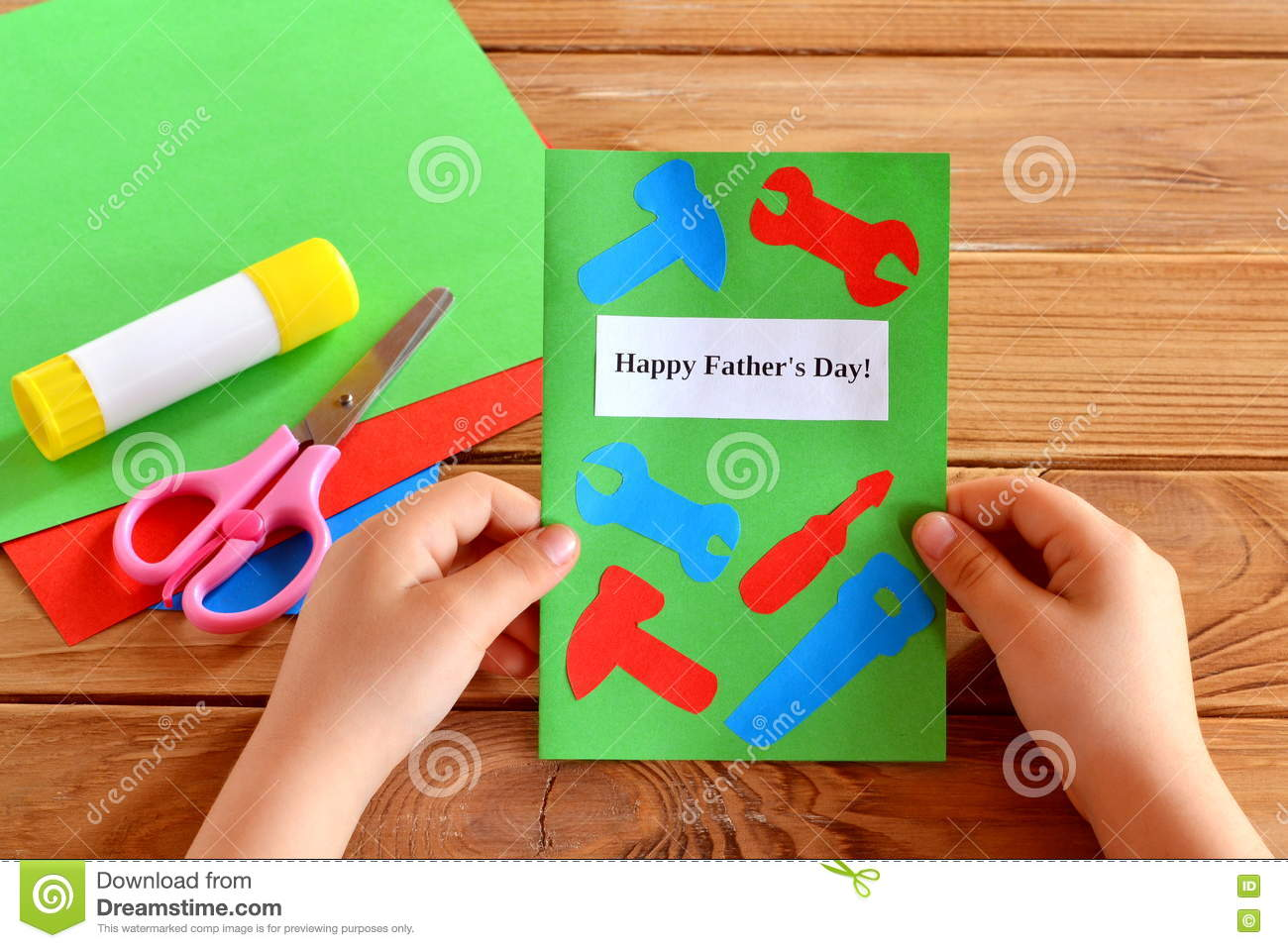 Greeting Card With Paper Tools Stock Photo Image Of Baby Hands