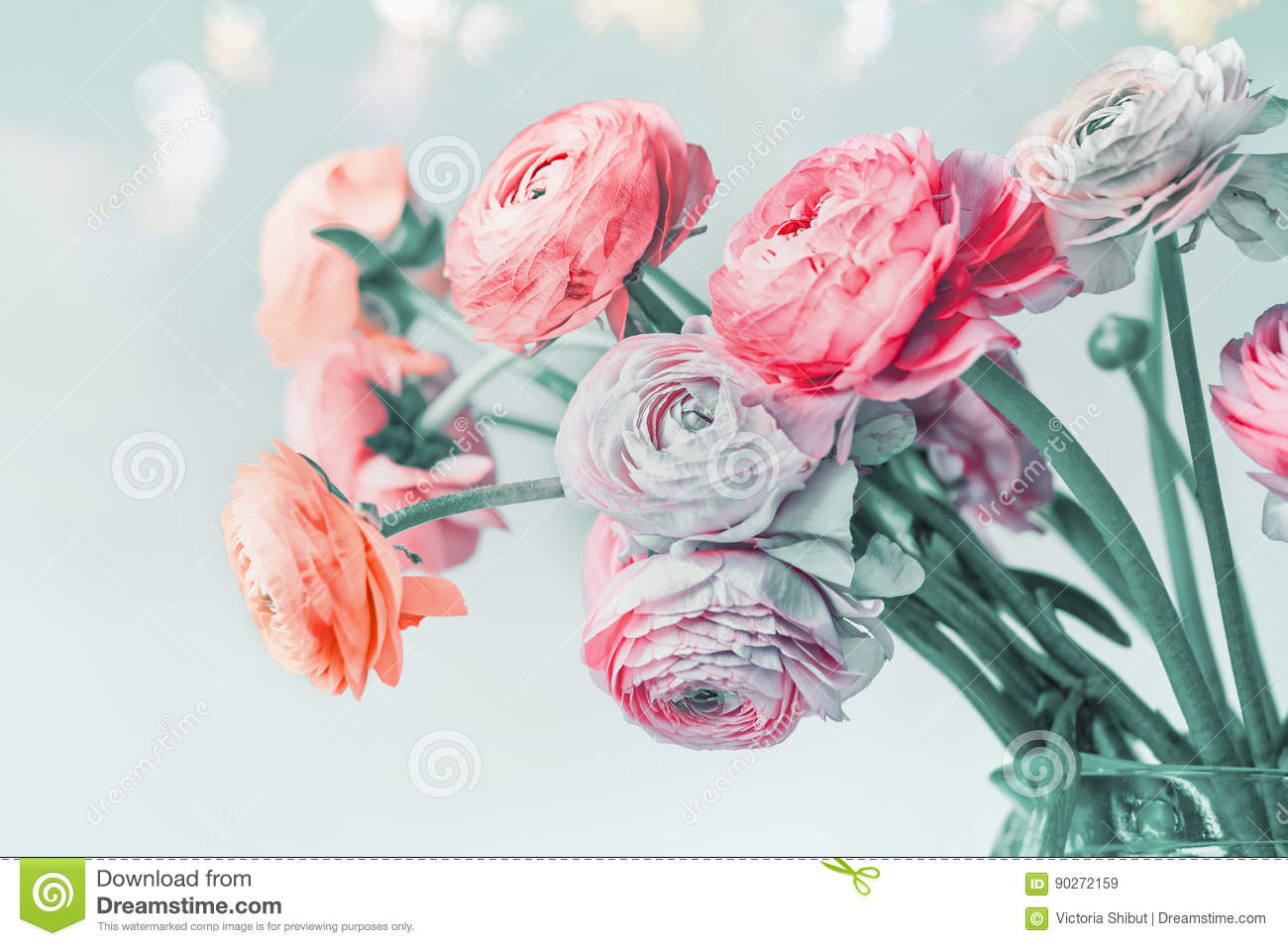 Greeting Card With Pastel Color Flowers And Bokeh Floral Border