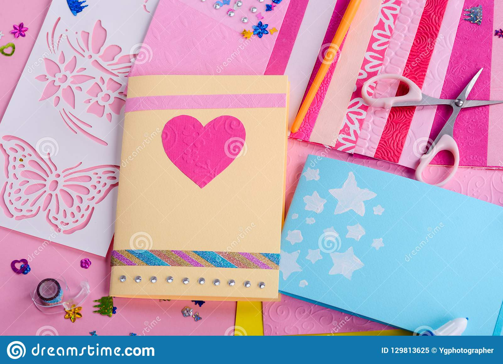 Greeting Card With Pink Heart Stock Image Image Of