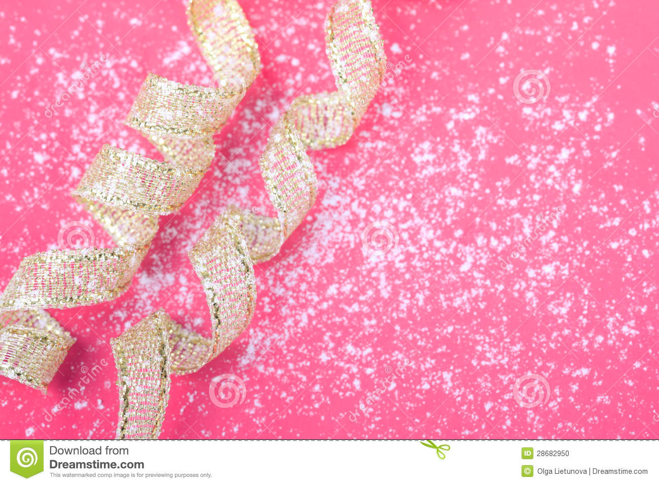 Greeting Card On Pink And White Background With Gold Ribbon Stock