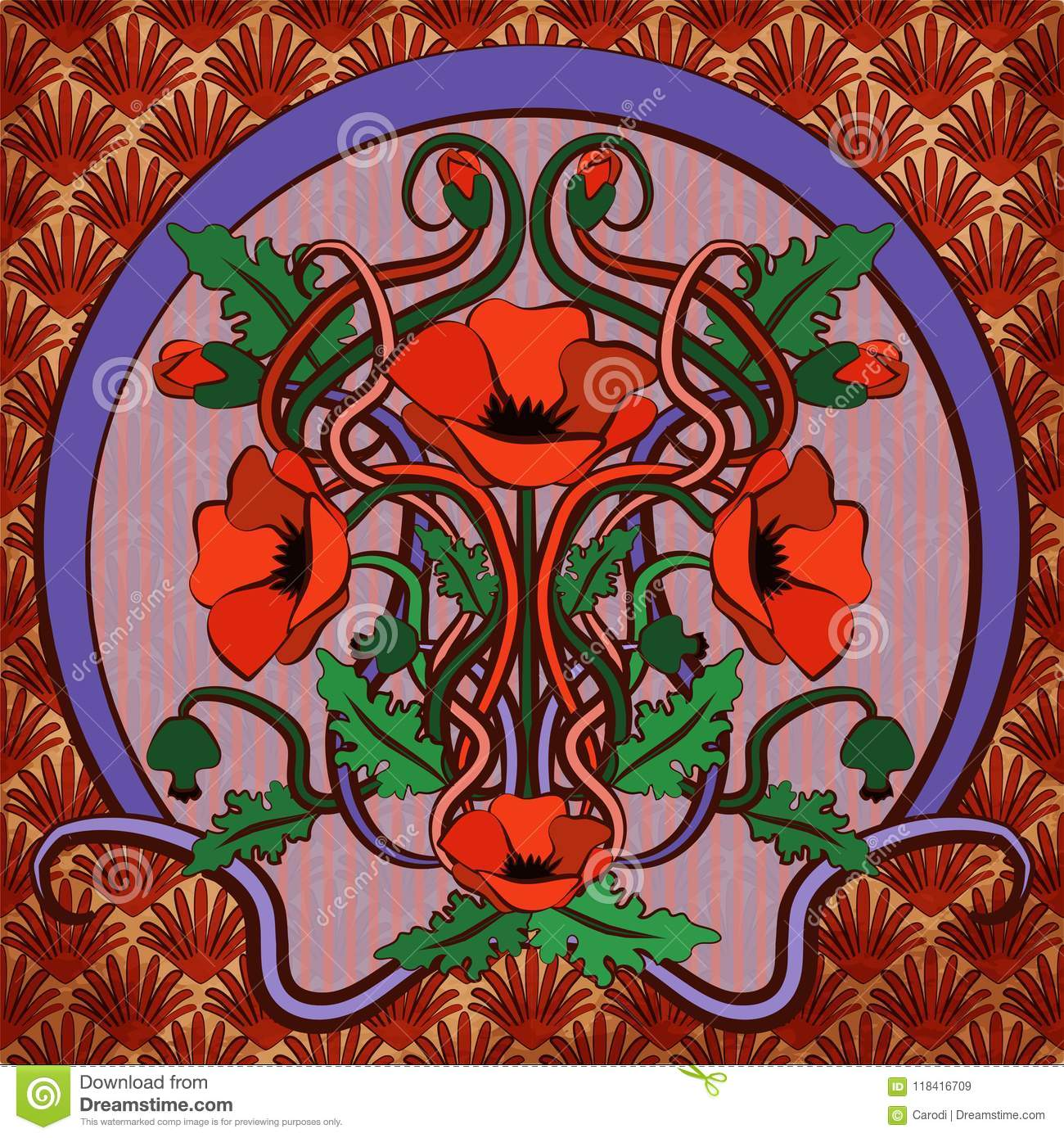 Art Nouveau Inspired California Poppy By Mason Larose: Greeting Card With Poppy Flowers In Art Nouveau Style