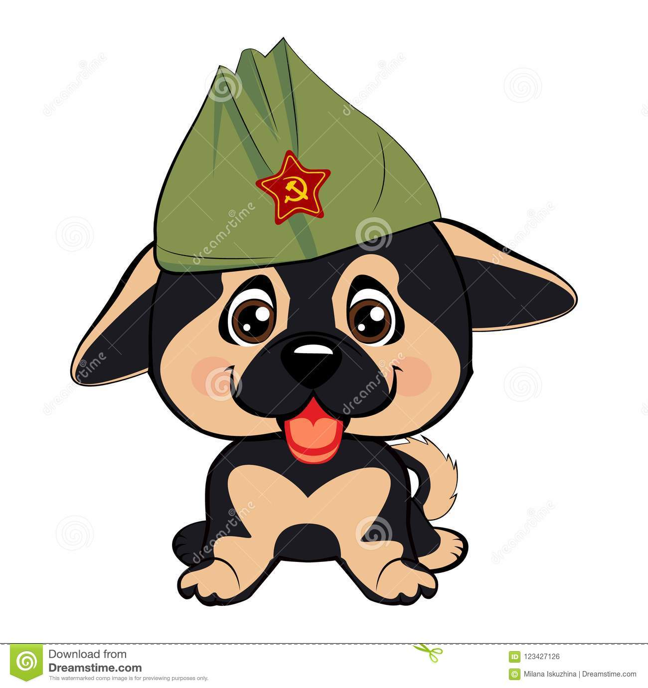 Greeting Card With A Puppy Of A German Shepherd In A Green Hat Stock
