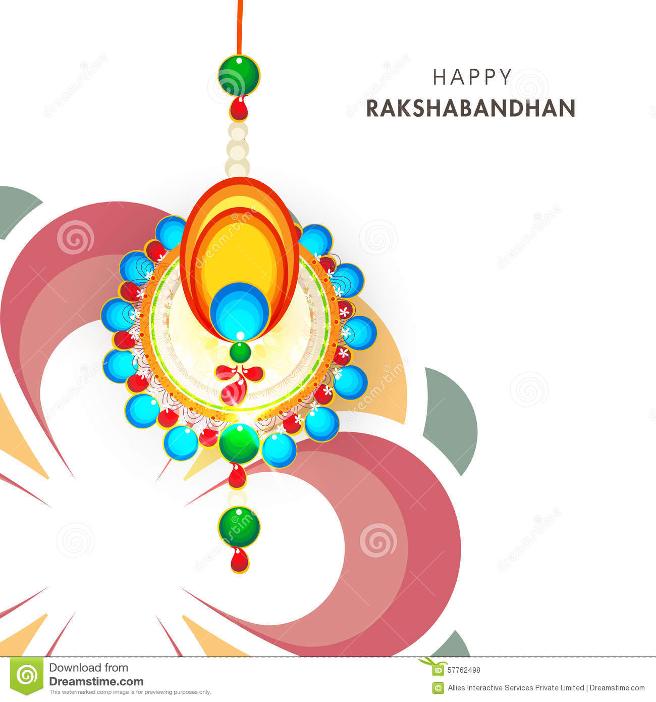 Indian Festival Decoration Greeting Card For Raksha Bandhan Celebration Stock Illustration
