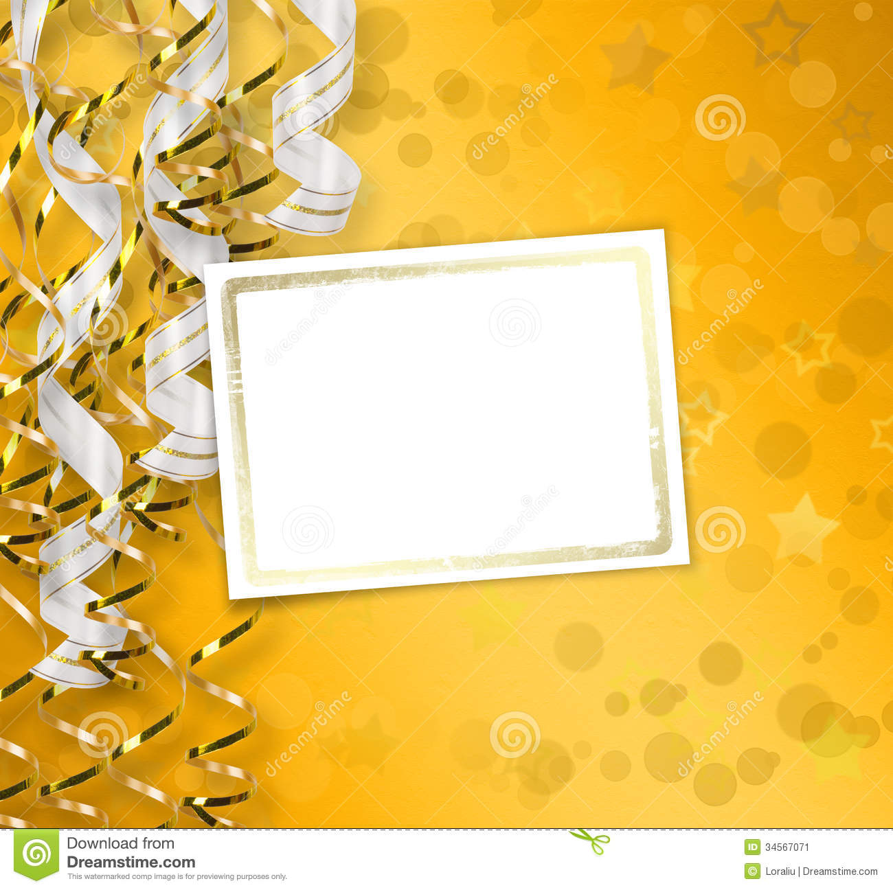 greeting card with ribbons on a beautiful background stock