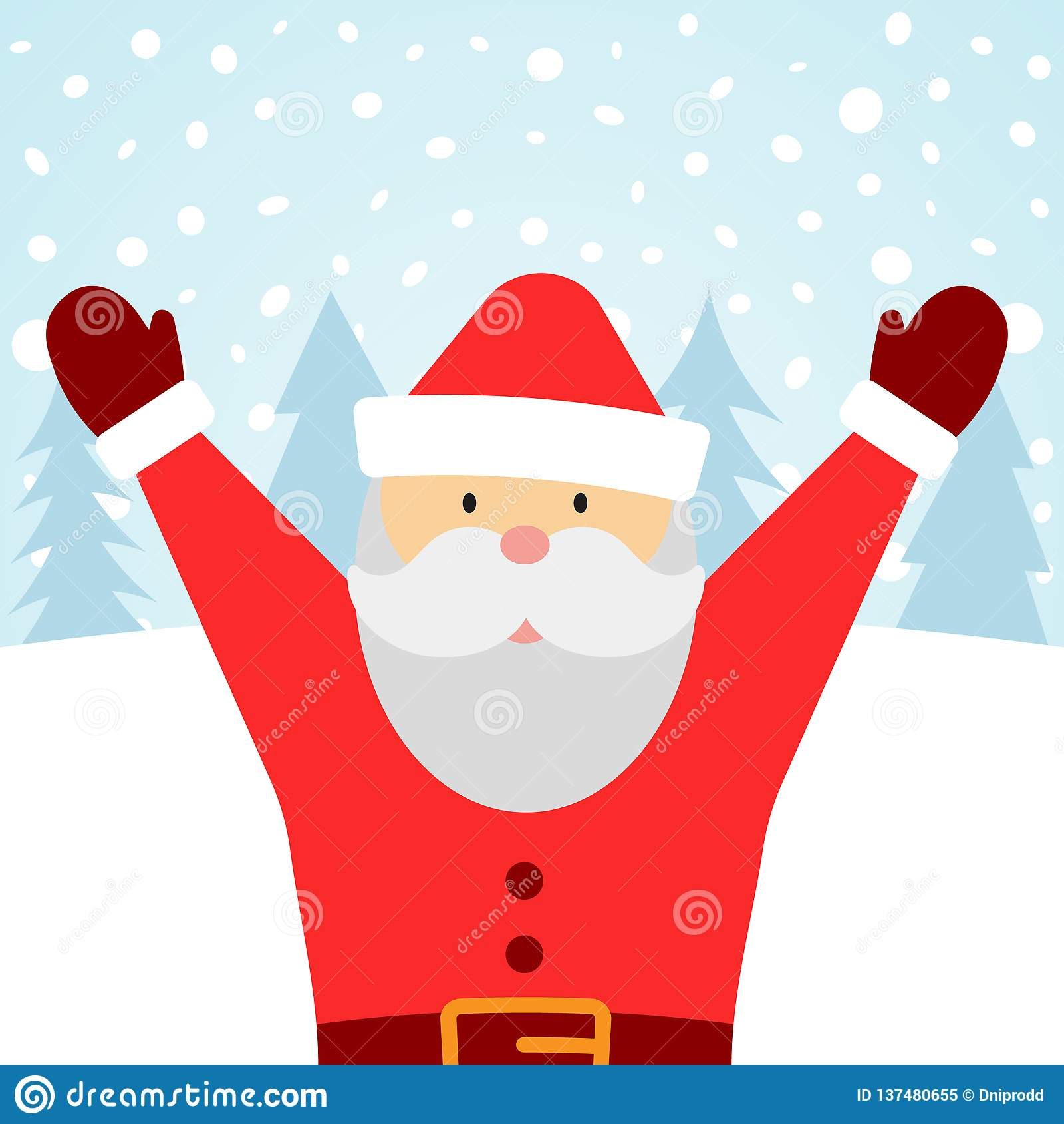 Greeting card with Santa Claus and falling snow. Merry Christmas background. Vector illustration royalty free stock photo