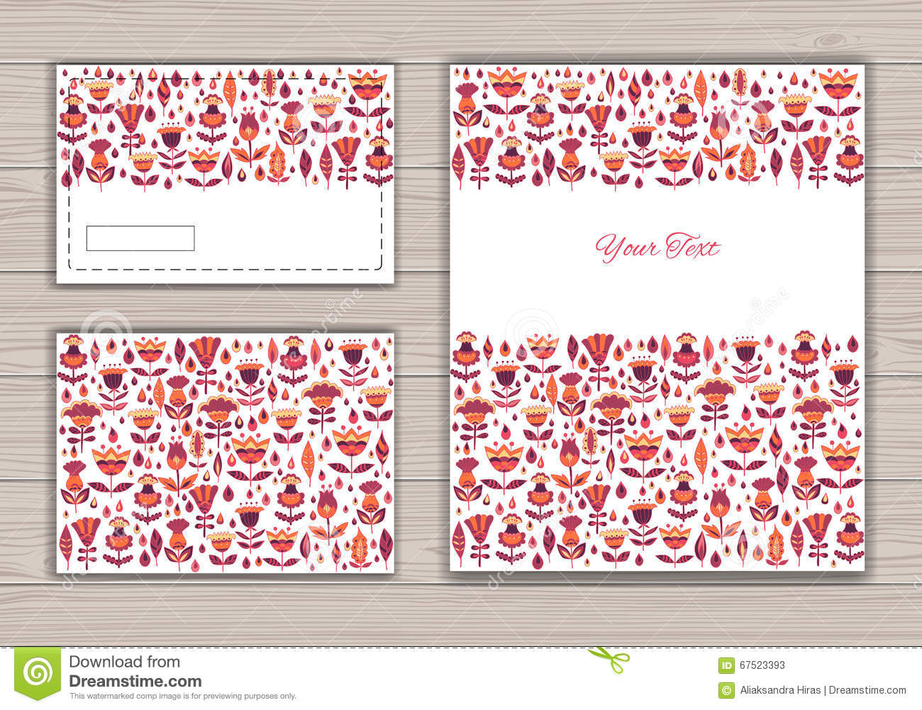 Greeting Card Set With Abstract Background Stock