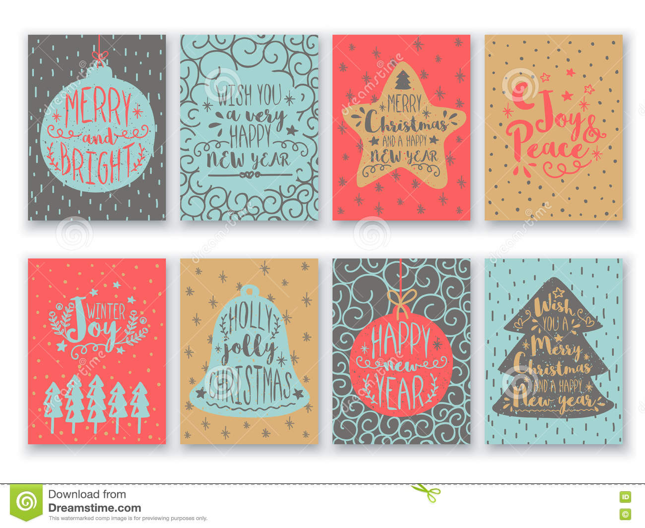 greeting card set for christmas and new year