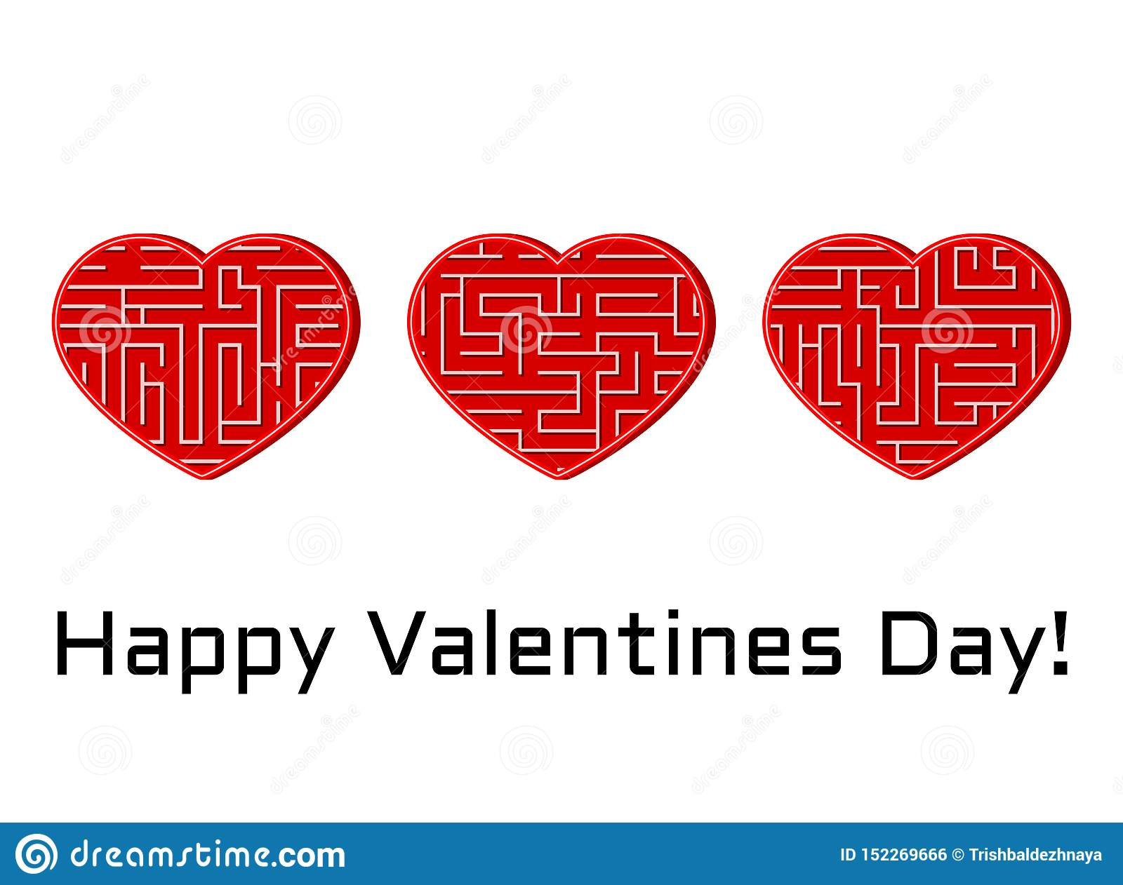 Greeting card with set of isolated vector hearts with maze labyrinth