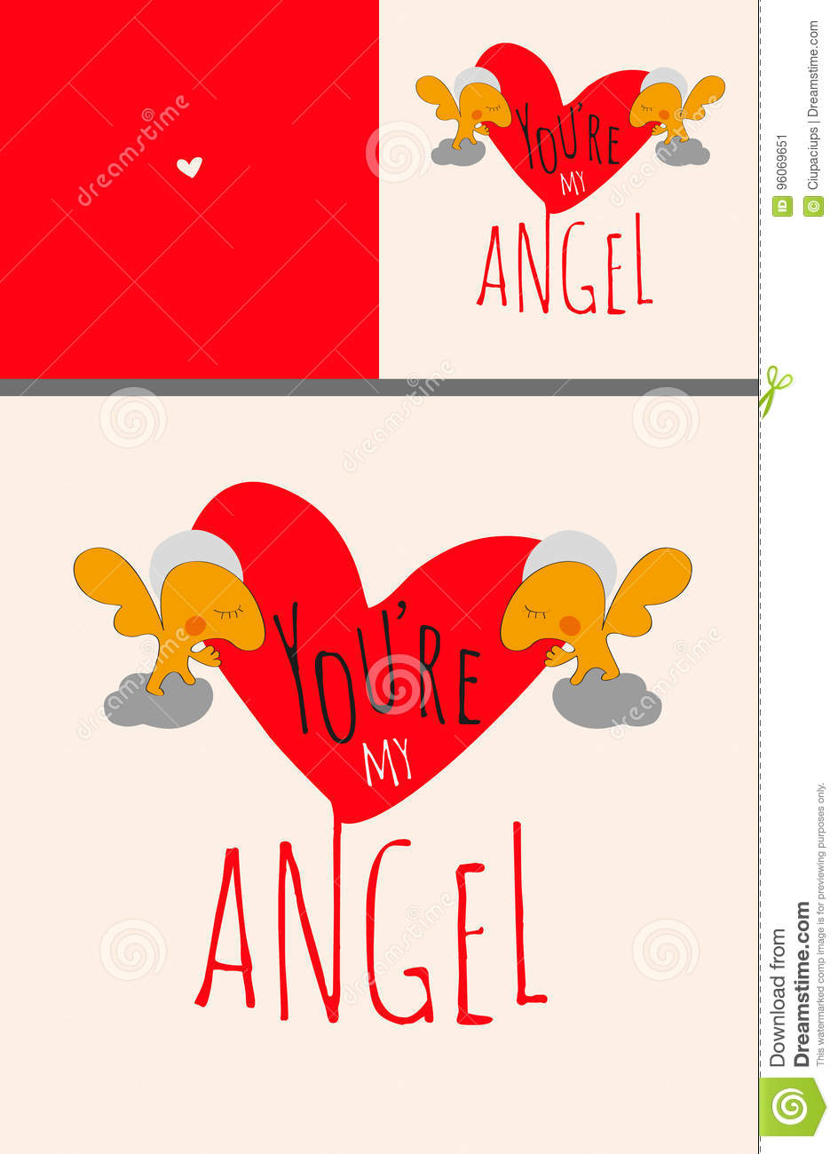 Greeting Card Set Or Poster With Angels Holding Big Valentine Heart