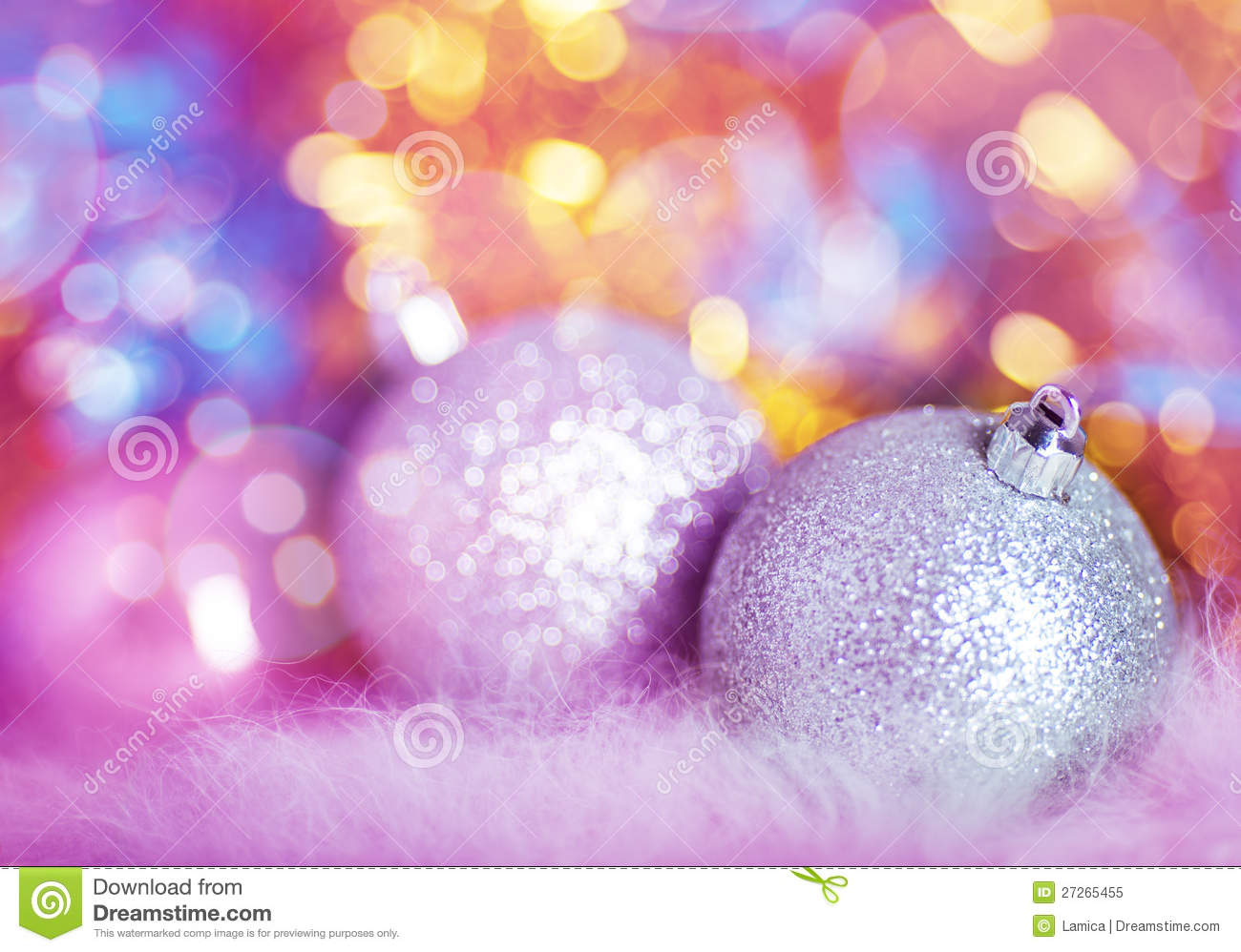 Greeting card with silver Christmas balls