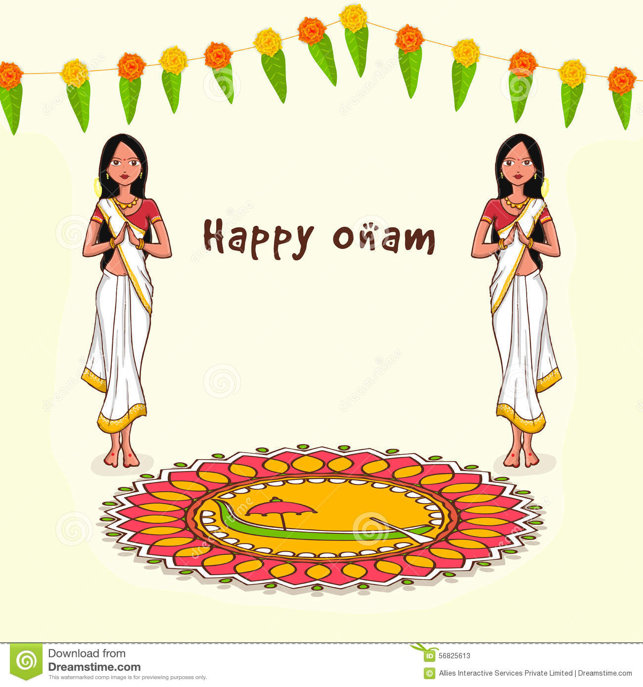 Greeting Card For South Indian Festival Onam Stock Illustration