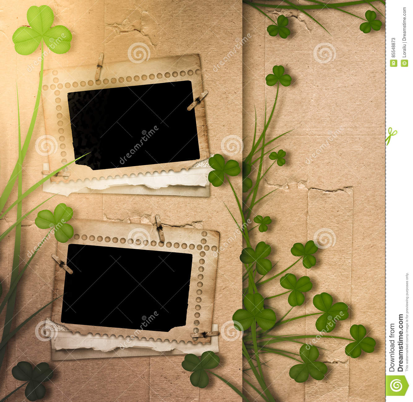 Greeting Card St Patrick On Old Paper Stock Illustration