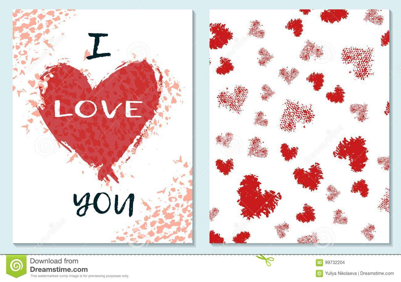 Greeting Card For St Valentine S Day I Miss You Hand Drawing