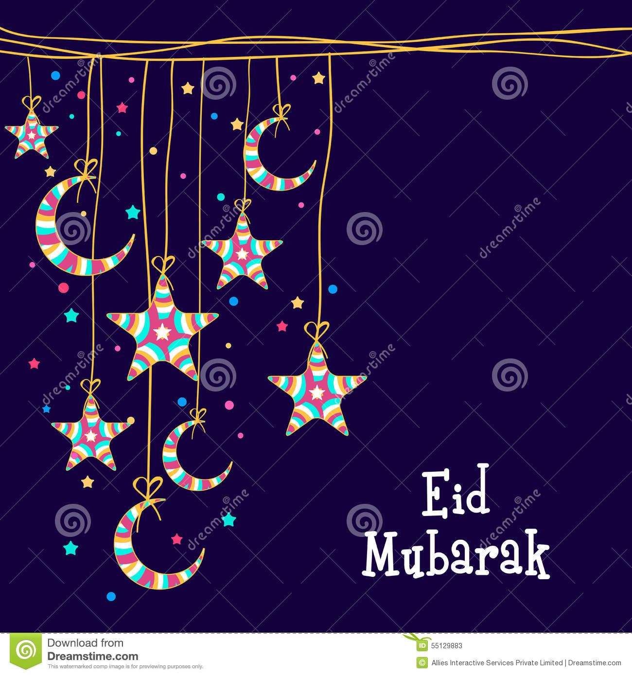 Greeting Card With Stars And Moon For Eid Mubarak