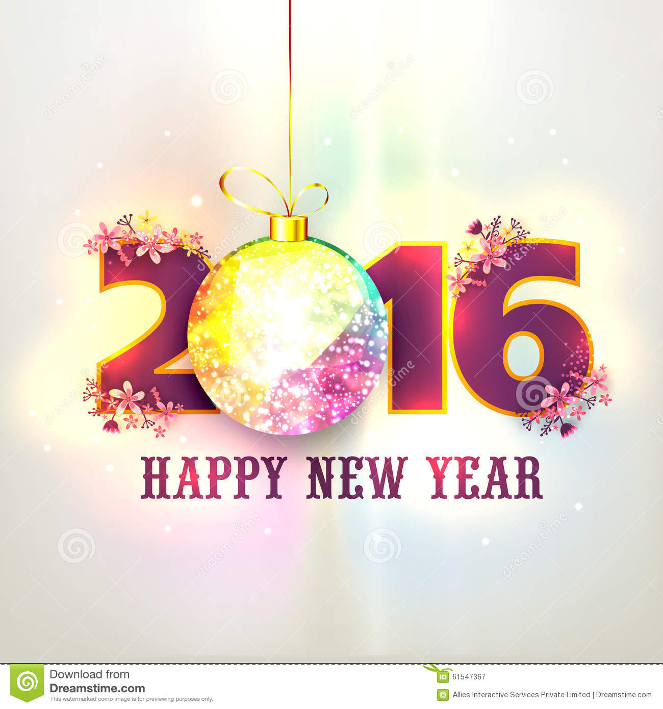 greeting card with stylish text for happy new year stock