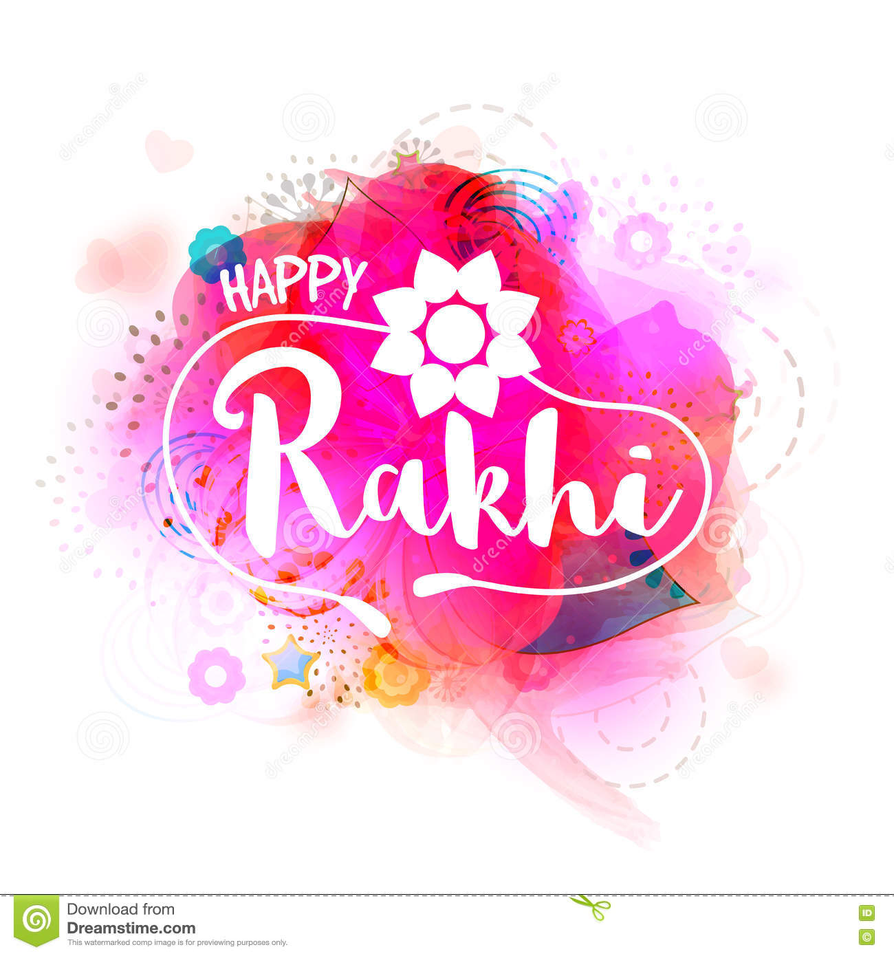 Greeting card with stylish text for happy rakhi stock illustration download comp m4hsunfo